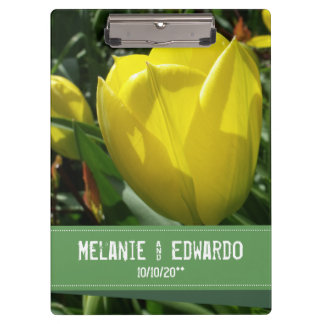 Yellow Tulip Flowers Wedding Clipboard