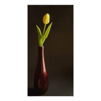 yellow tulip in dark red vase personalised photo card