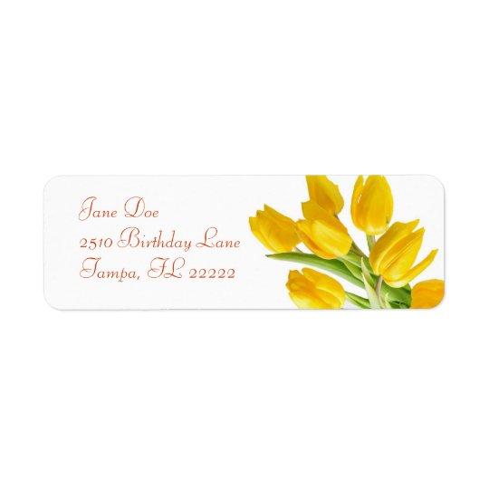 Yellow Tulip Return Address Label
