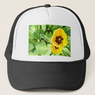 Yellow tulip trucker hat
