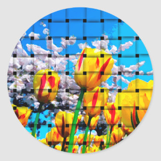 Yellow Tulip Weave Sticker