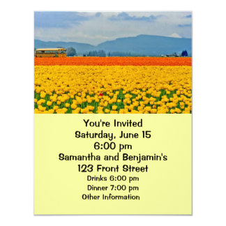 Yellow Tulips and School Bus 11 Cm X 14 Cm Invitation Card
