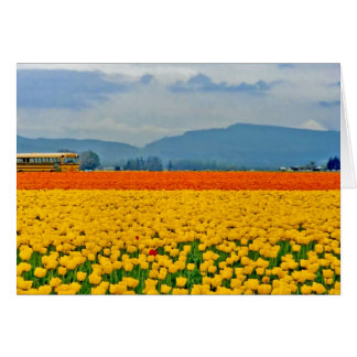 Yellow Tulips and School Bus Greeting Card