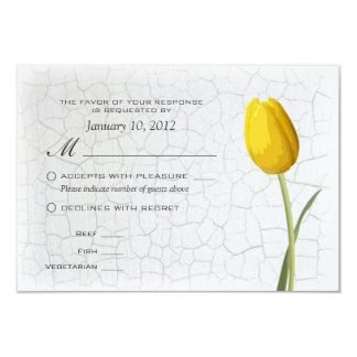 Yellow Tulips Crackle Paint RSVP w/ Meal Options 9 Cm X 13 Cm Invitation Card