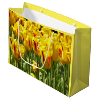 Yellow Tulips Floral Photo Large Gift Bag