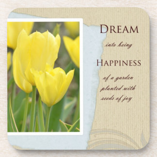 Yellow Tulips Garden Dream and Happiness Drink Coaster