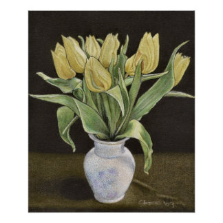 Yellow Tulips in a Vase Print
