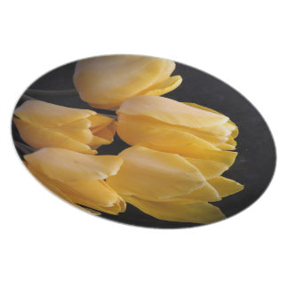 """""""Yellow Tulips With A Dark Background"""" Plate"""