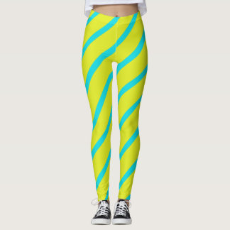 Yellow Turquoise Angled Stripes Leggings