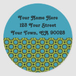 yellow turquoise circles address labels round sticker