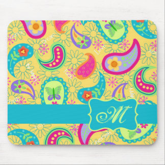 Yellow Turquoise Modern Pasley Pattern Monogram Mouse Pad