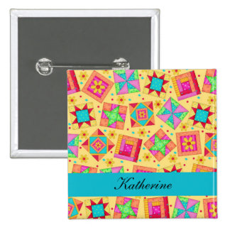 Yellow Turquoise Patchwork Quilt Blocks Name Badge