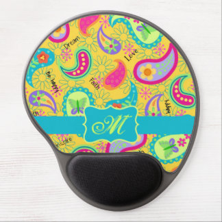 Yellow Turquoise Teal Modern Paisley Monogram Gel Mouse Pad