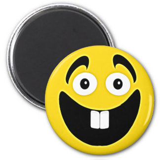 Yellow Two Front Teeth Smiley Face 6 Cm Round Magnet