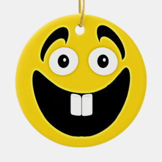 Yellow Two Front Teeth Smiley Face Round Ceramic Decoration