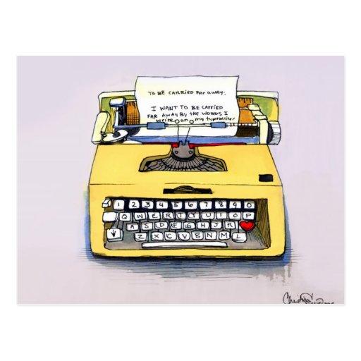 Yellow Typewriter Post Cards