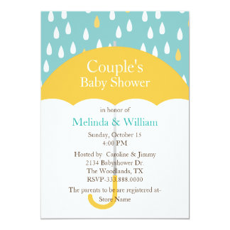 Yellow Umbrella Baby Shower Invitation