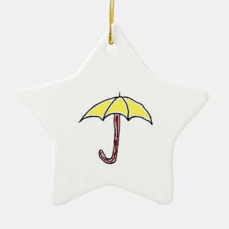 Yellow Umbrella Design Christmas Ornament