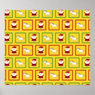 Yellow unicorns santa claus pattern posters