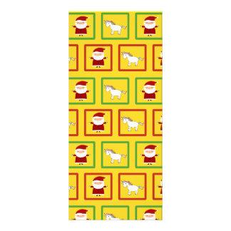 Yellow unicorns santa claus pattern rack card