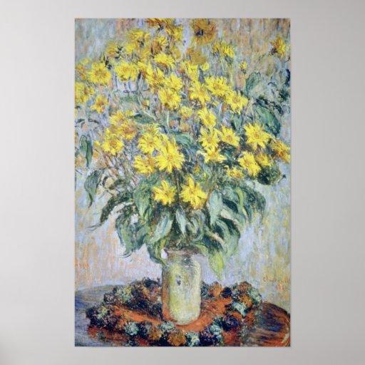 yellow Vase of Chrysanthemums, Claude Monet flower Poster