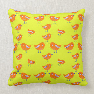Yellow Vector pattern of cute  Birds Cushion