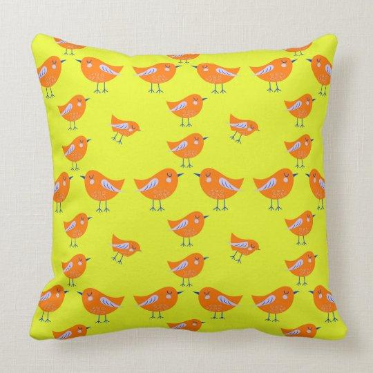 Yellow Vector pattern of cute Birds Throw Pillow