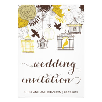 Yellow Vintage Birdcages Floral Wedding Invitation