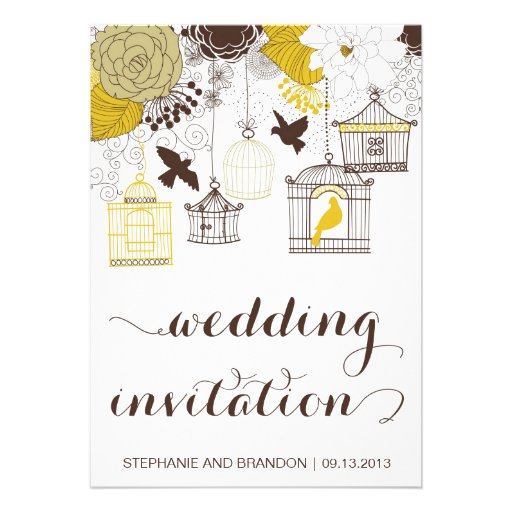 Yellow Vintage Birdcages Floral Wedding Invitation