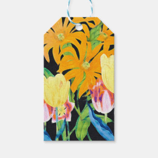 Yellow Vintage Botanical Tulips Gift Tags