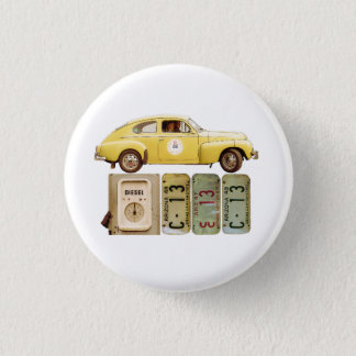 Yellow Vintage Car 3 Cm Round Badge