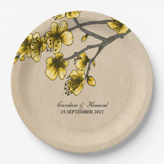 Yellow Vintage Cherry Blossoms Paper Plates 9 Inch Paper Plate