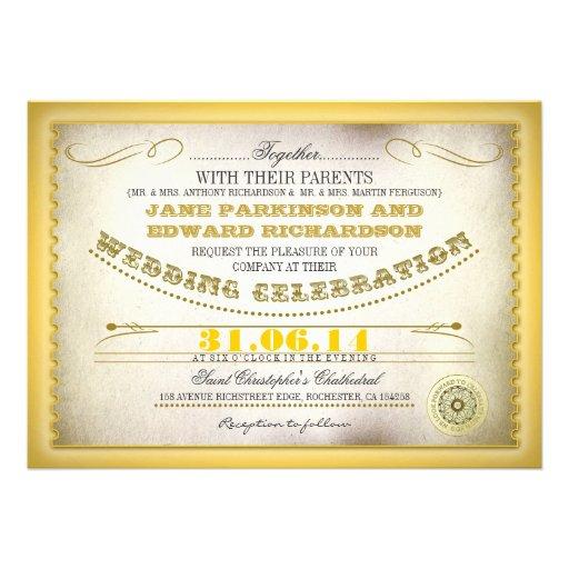 Yellow vintage wedding invitations - tickets