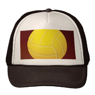 Yellow Volleyball Earthy Red Background Cap