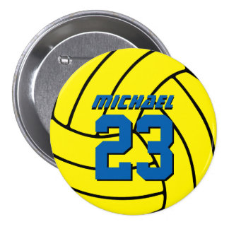 Yellow Volleyball Sports Team Button Pin
