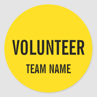 Yellow Volunteer Badge with Custom Team Name Classic Round Sticker