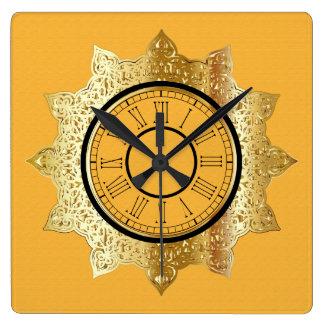 Yellow w/ Shiny Gold Centre and Roman Numerals Square Wall Clock