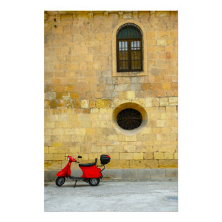 Yellow wall, Red scooter Print