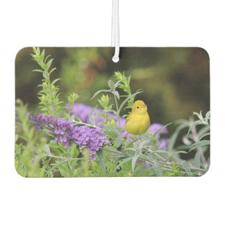 Yellow Warbler and Purple Flowers Car Air Freshener