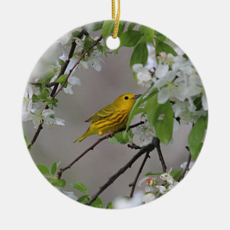 Yellow Warbler and Spring Blossoms Christmas Ornament
