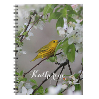 Yellow Warbler and Spring Blossoms Notebook