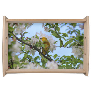 Yellow Warbler and Spring Blossoms Serving Tray
