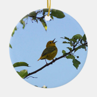 Yellow Warbler in the Spring Christmas Ornament