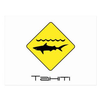 Yellow 'warning sharks' sign Tahiti postcard