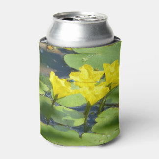 Yellow Water Lilies with dragonfly Can Cooler