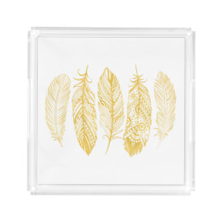 Yellow Watercolor Feather Print Tray