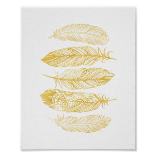 Yellow Watercolor Feather Tribal Print Poster