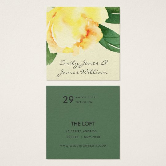 YELLOW WATERCOLOR FLORAL PERSONALIZED WEDDING SQUARE BUSINESS CARD