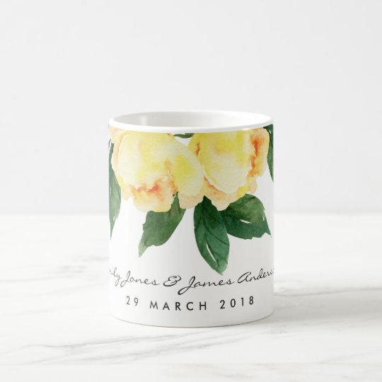 YELLOW WATERCOLOR FLORAL SAVE THE DATE GIFT COFFEE MUG