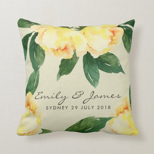 YELLOW WATERCOLOR FLORAL SAVE THE DATE GIFT CUSHION
